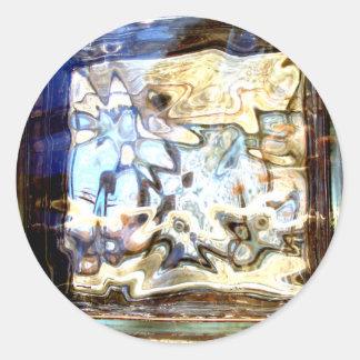 El vidrio florece acentos abstractos del diseñador pegatina redonda