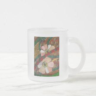 el vidrio teja las flores vo1 taza de cristal