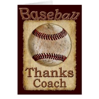 El viejo béisbol rústico del vintage agradece la tarjeta de felicitación