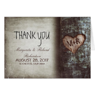 el viejo boda del corazón del árbol le agradece la tarjeta pequeña