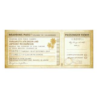 """el viejo boda del documento de embarque invitación 4"""" x 9.25"""""""