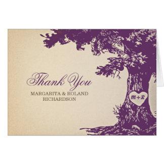 el viejo boda del roble del ciruelo le agradece tarjeta pequeña