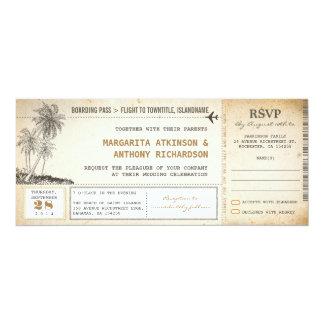 el viejo boda del vuelo del documento de embarque invitación personalizada