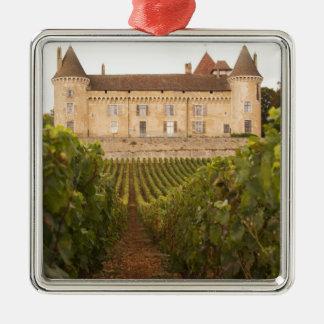 El viejo Chateau medieval de Rully en el Cote Adorno Cuadrado Plateado