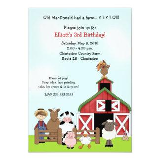 """El viejo cumpleaños del corral de la granja de invitación 5"""" x 7"""""""