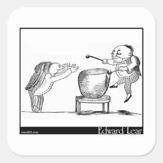 El viejo hombre de Edward Lear con una imagen del Pegatinas Cuadradas