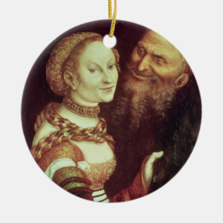 El viejo hombre locamente enamorado, 1553 (aceite adorno redondo de cerámica