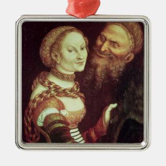 El viejo hombre locamente enamorado, 1553 (aceite adorno cuadrado plateado