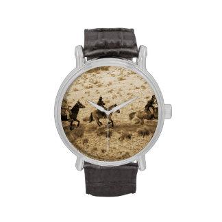 El viejo montar del oeste de los vaqueros relojes de pulsera