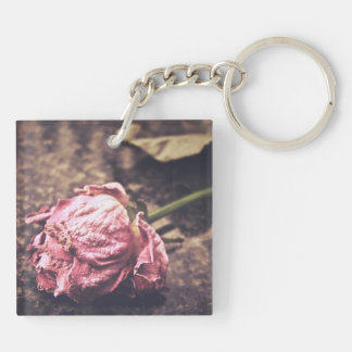 El viejo rosa teñido del vintage subió la foto llavero cuadrado acrílico a doble cara