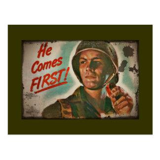 Él viene el primer racionar de la comida de WWII Tarjetas Postales
