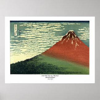 """El viento del sur de Hokusai, cielo claro o """"Fuji Póster"""