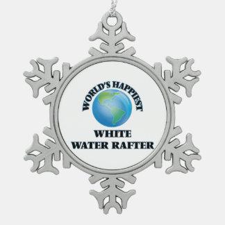 El viga más feliz del agua blanca del mundo adorno de peltre en forma de copo de nieve
