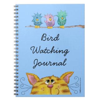 El Vigilante-Gato del pájaro mira pájaros arriba Cuadernos