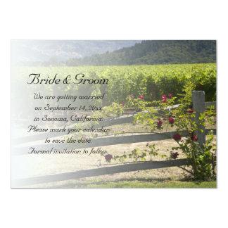 """El viñedo y el boda color de rosa de la cerca invitación 4.5"""" x 6.25"""""""