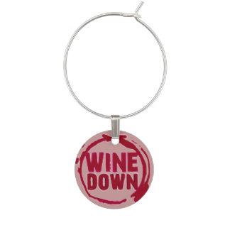 """El """"vino abajo"""" wine etiqueta del sayin identificador de copa"""