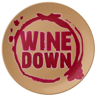 """El """"vino abajo"""" wine la impresión de cristal del f platos de cerámica"""