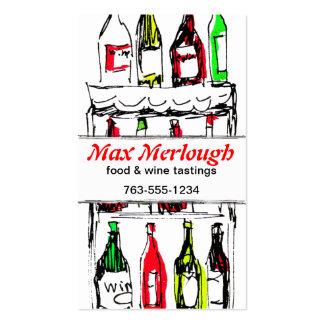 el vino blanco rojo embotella la tarjeta de tarjetas de visita