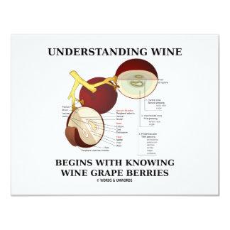 """El vino de comprensión comienza con saber la uva invitación 4.25"""" x 5.5"""""""