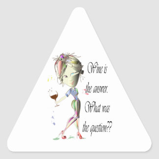 ¿El vino es la respuesta - cuál era la pregunta?? Pegatina Triangular