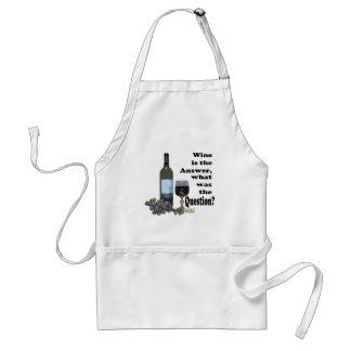 ¿El vino es la respuesta, cuál era la pregunta?  R Delantal