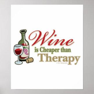El vino es más barato que terapia posters