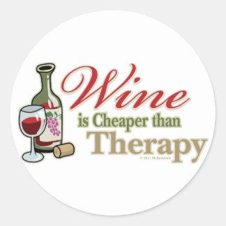 El vino es más barato que terapia pegatina redonda