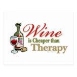 El vino es más barato que terapia postales