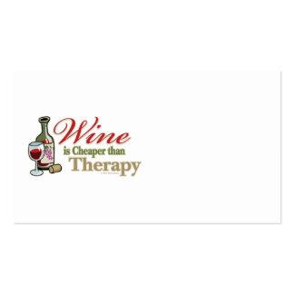 El vino es más barato que terapia tarjetas de visita