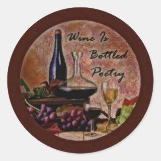 El vino es poesía en botella pegatina redonda