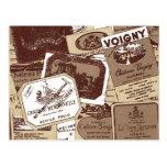 El vino francés del vintage etiqueta el papel pint tarjetas postales