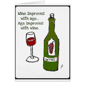 El vino mejora con edad de la edad… mejora con el tarjetón