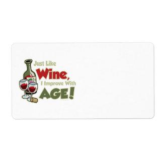 El vino mejora con edad etiquetas de envío