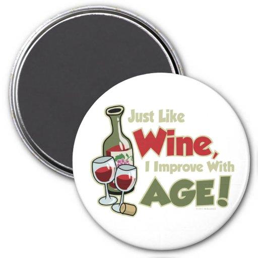 El vino mejora con edad imán redondo 7 cm