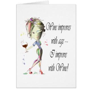 El vino mejora con edad las mujeres chistosas y e felicitación