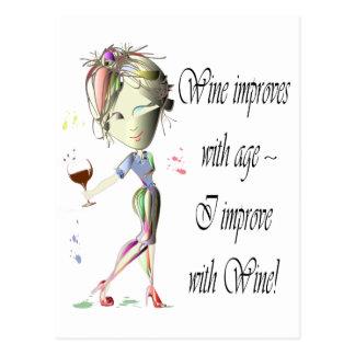 El vino mejora con edad las mujeres chistosas y e tarjeta postal