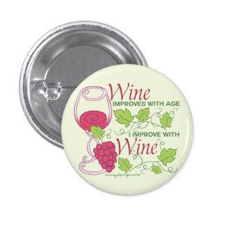 El vino mejora con edad pin redondo de 1 pulgada