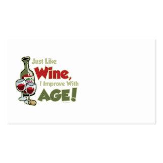 El vino mejora con edad plantillas de tarjetas de visita