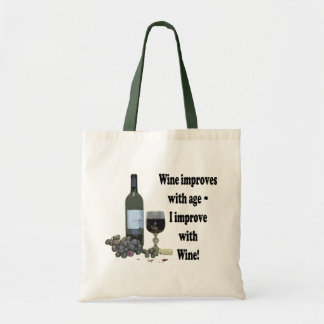 ¡El vino mejora con edad, yo mejora con el vino! Bolsas