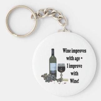 ¡El vino mejora con edad, yo mejora con el vino! Llavero Redondo Tipo Pin