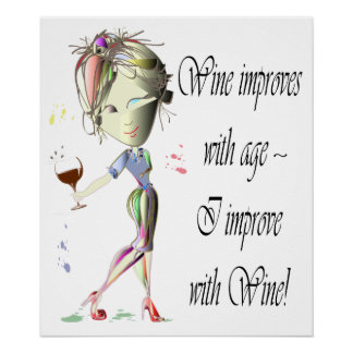 El vino mejora con la edad, poster divertido del