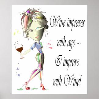 El vino mejora con la edad, poster divertido del a