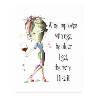 El vino mejora con la edad regalos chistosos del postal