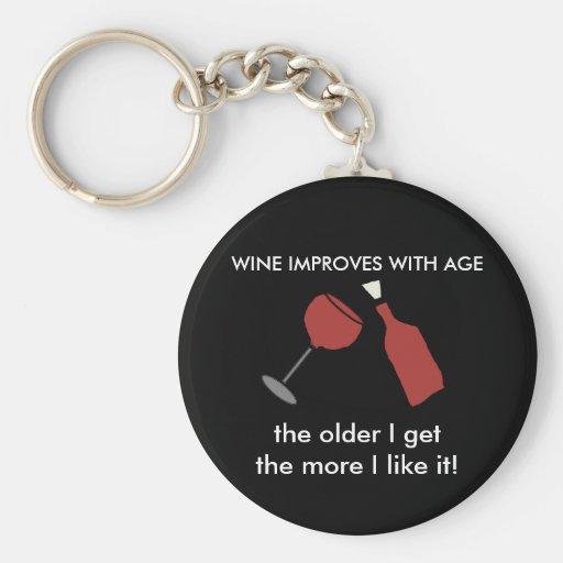 El VINO MEJORA CON llavero del vino de la EDAD