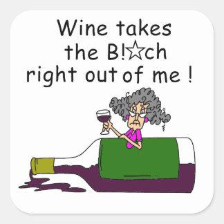 El vino Mellows me Pegatina Cuadrada