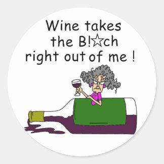 El vino Mellows me Pegatina Redonda