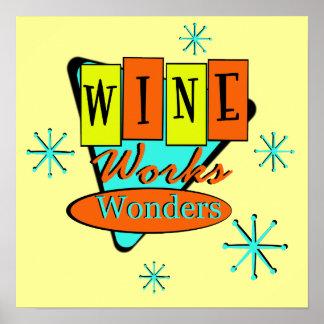 El vino retro trabaja arte de la pared de las mara póster