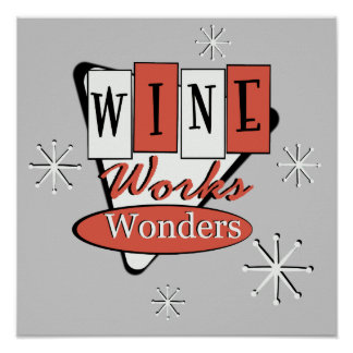 El vino rojo y negro retro trabaja arte de la pare póster