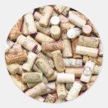 El vino tapa a los pegatinas con corcho etiqueta redonda