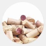 El vino tapa a los pegatinas con corcho pegatina redonda